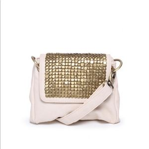 STREET LEVEL ivory faux leather purse w gold studs